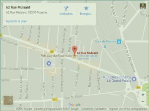 Carte pour se rendre à l'atelier des Vitraux du Roannais
